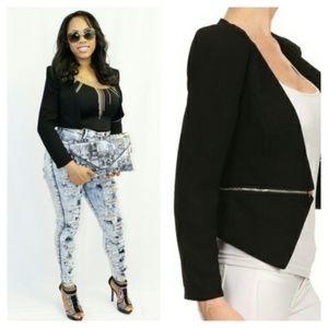 Zipped Up Detachable Crop Blazer